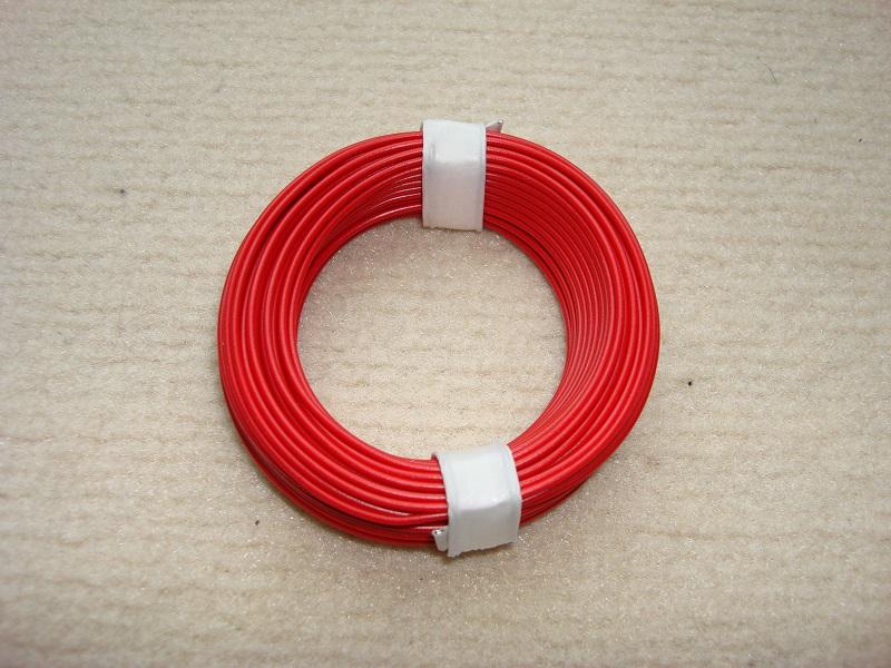 10 m Kupferlitze - 0,14 qmm  x 1,0 mm - rot