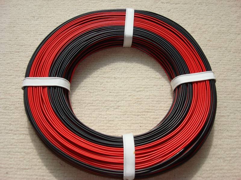 50 m Zwillingslitze 0,25 mm² rot/schwarz