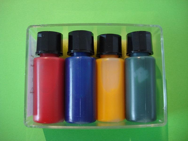 Gluehlampenfarbe, 4 Flaschen á 10 ml, rot blau, gruen, gelb