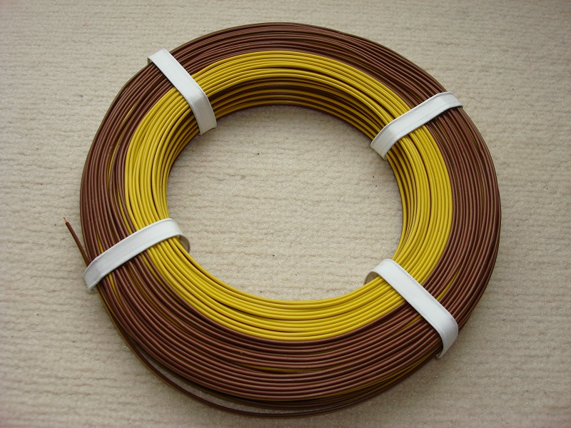 50 m Zwillingslitze 0,25 mm² gelb/braun